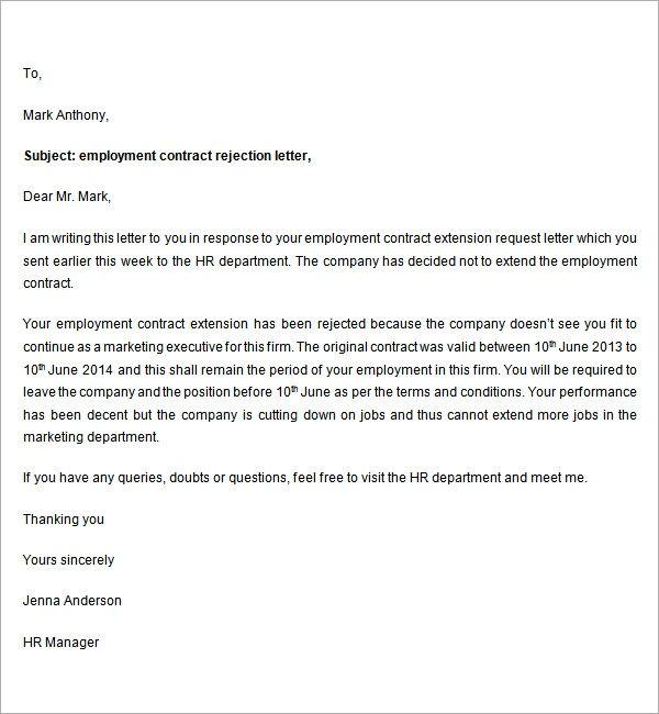 Sample Rejection Letter 7 Free Documents Download in Word – Refusal Letter