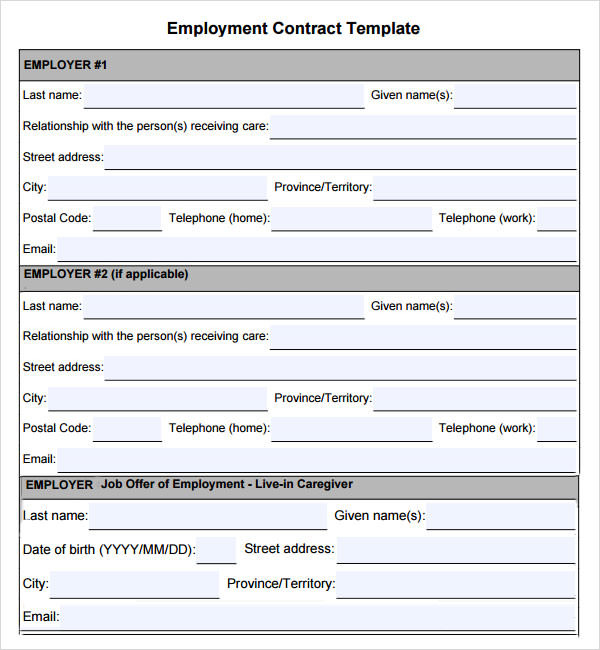 Employment Contract Template Free Download 8cEVdU3X