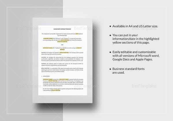 Employment Contract Template In Word