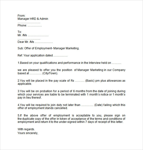 Job Offer Letter Template For Word Employment Offer Letter Template
