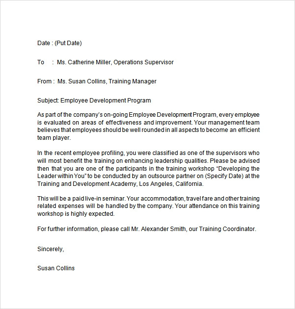 employment training letter