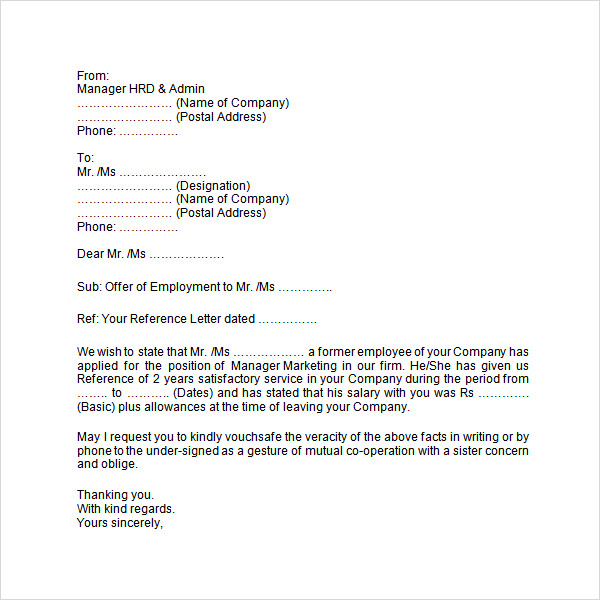 Employment Verification Letter  Employment Letter Sample