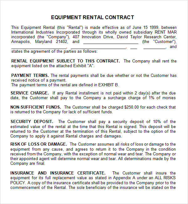 equipment lease agreement template .