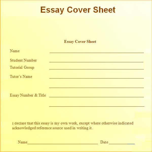 essay cover sheet