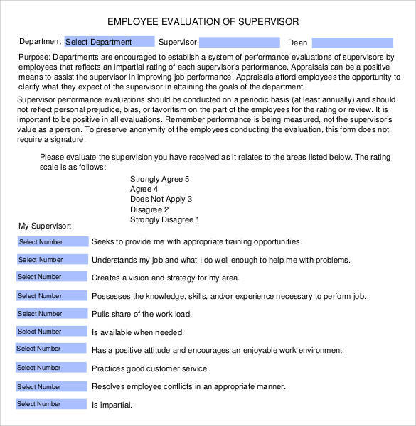 evaluation of supervisor