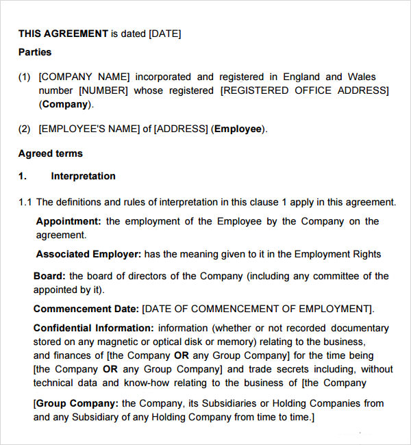 ceo employment contract template - employment contract 7 free pdf doc download sample