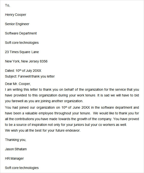 Sample Farewell Letter To Colleagues Funny