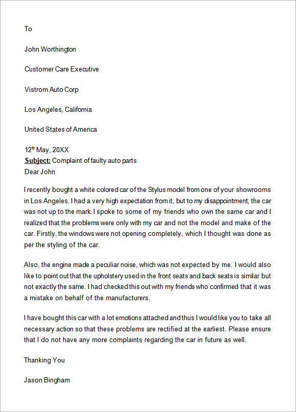 Complaint letter template sample formal complaint letter formal complaint letter template spiritdancerdesigns Images