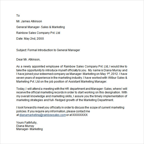 introduction letter template hotel welcome letter from general manager leading 22579 | Formal Introduction Letter