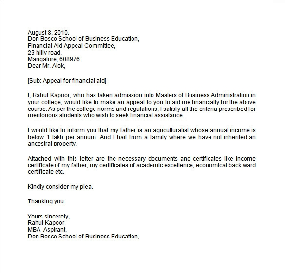 Sample Financial Aid Appeal Letter 7 Free Documents