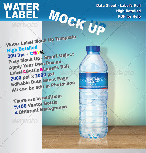 Water Bottle Label Template   Download In Psd Word Vector Eps