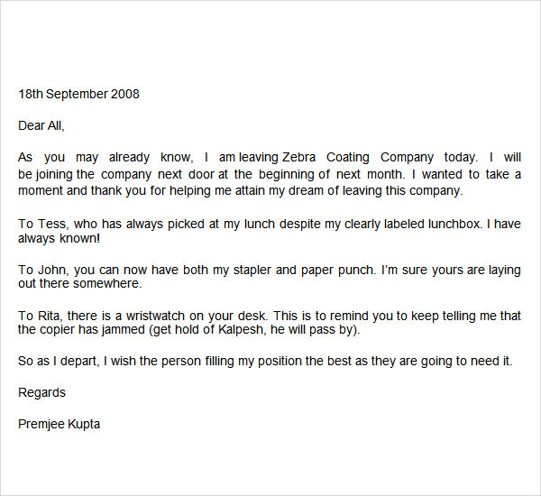 Farewell Email To Coworkers Sample | Resume Cv Cover Letter