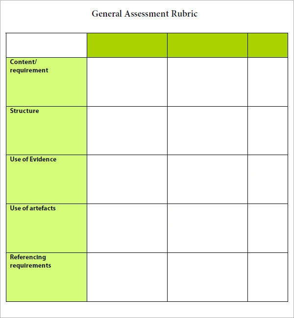Rubric template 6 free pdf doc download sample templates for Rubric template maker