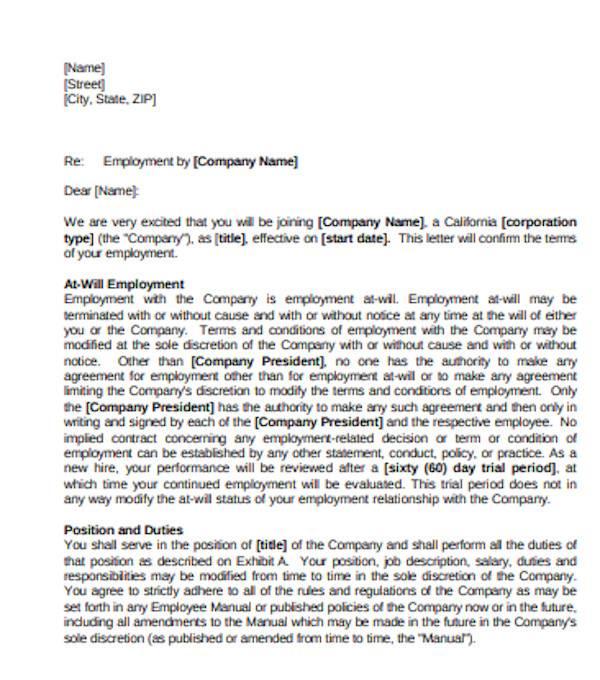 general employment offer letter