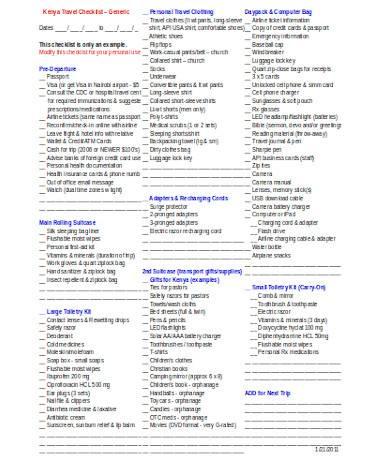 general travel checklist