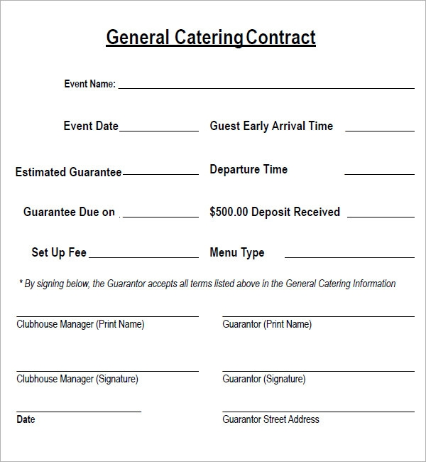 Catering contract free printable documents for Catering contracts templates