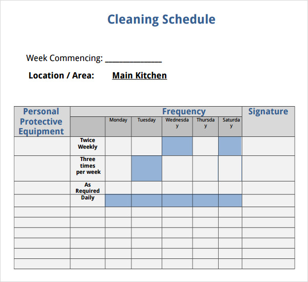 janitorial schedule template 7 house cleaning checklist templates pdf doc sample
