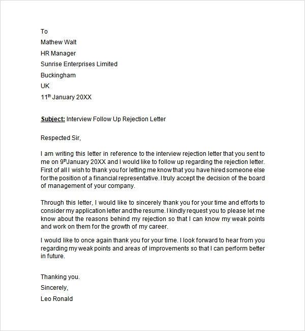 Interview Rejection Letter   6 Free Doc Download qeFKla1s