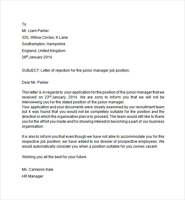 Interview Rejection Letter - 6 Free Doc Download | Sample Templates