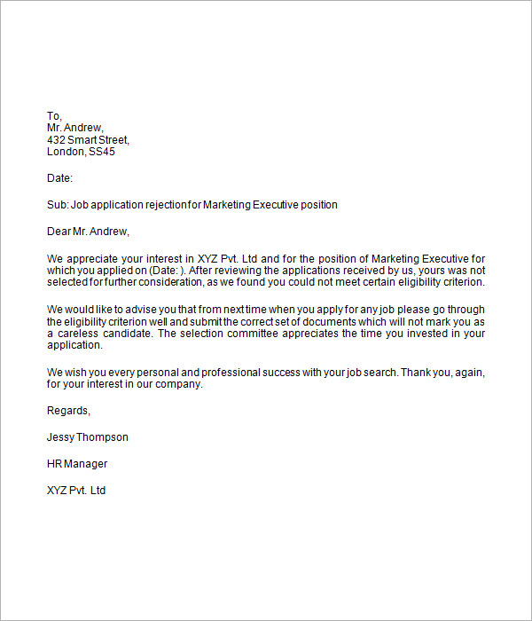 Job Rejection Letter 6 Free Doc Download – Sample Applicant Rejection Letter