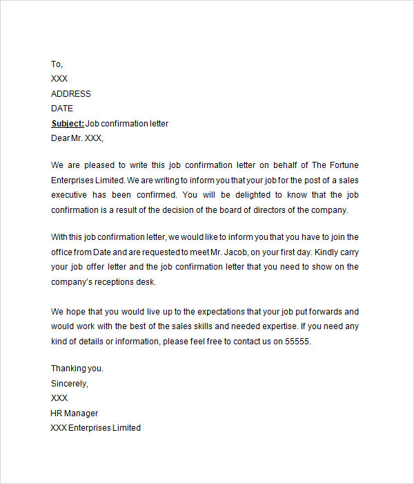 Confirmation Letter   Free Download For Doc