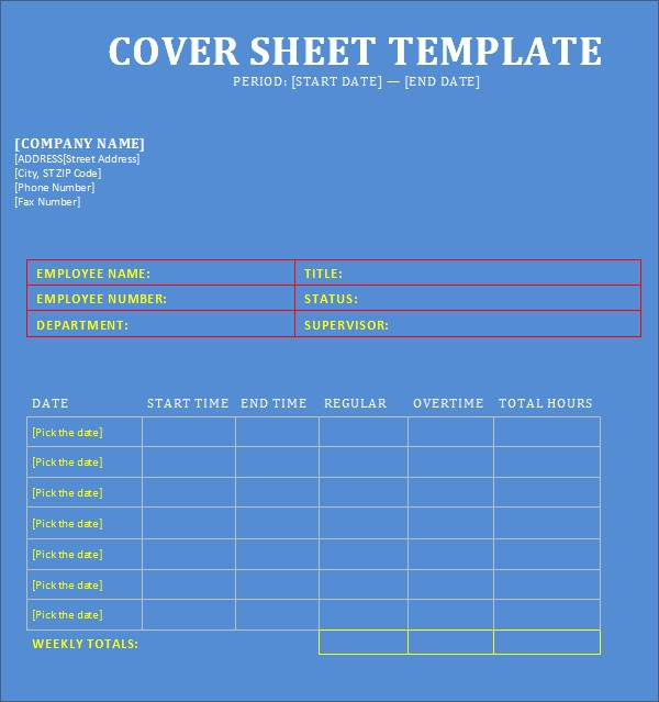 FREE 9 Cover Sheet Templates in Word   PDF