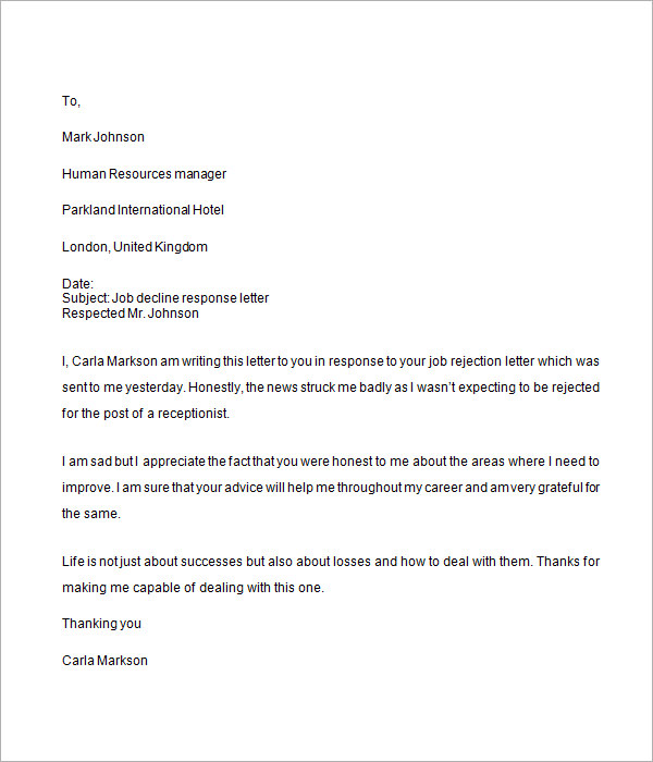 Rejection letter response sample fieldstation rejection letter response sample spiritdancerdesigns Images