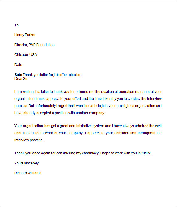 Sample Job Offer Letter 9 Documents in Word – Job Offer Letter