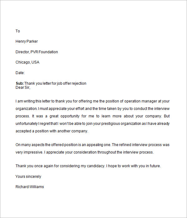 Job Rejection Letter - 6+ Free Doc Download Job Offer Rejection Thank You Letter