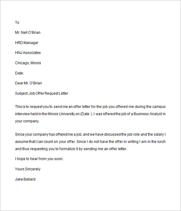 job offer request letter