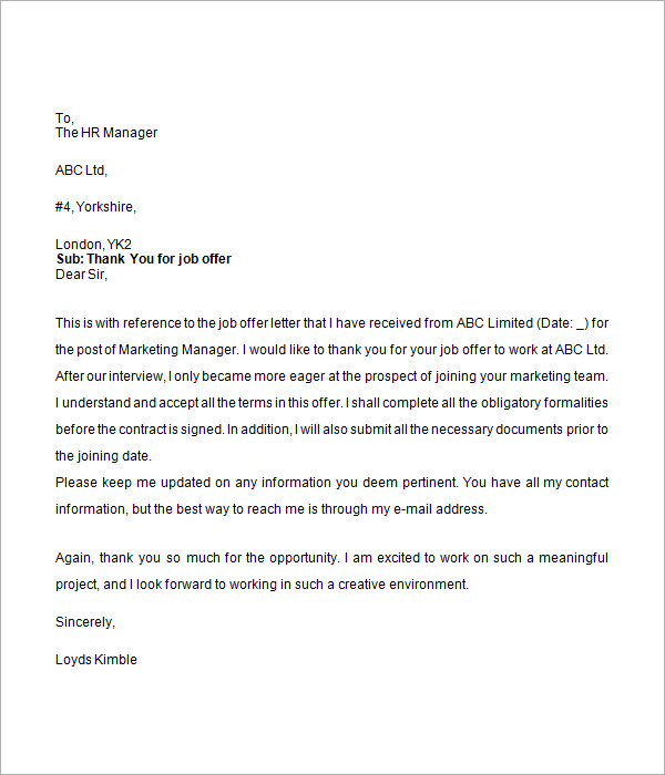 Sample Job Offer Letter 9 Documents in Word – Job Offer Letters