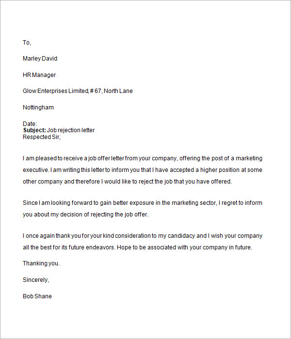 Job Rejection Letter - 6+ Free Doc Download Job Rejection Letter