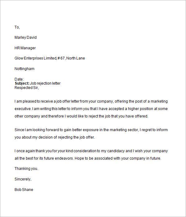 Job application regret letter sample applicants letter pertamini 8 letter rejecting job offer expocarfo Gallery
