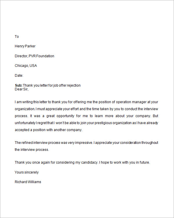 Job Application Thank You Letter Sample