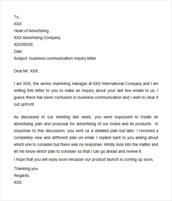 Inquiry Letter 7 Free Doc Download – Inquiring Letter Sample