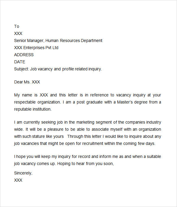 Inquiry Letter 7 Free Doc Download