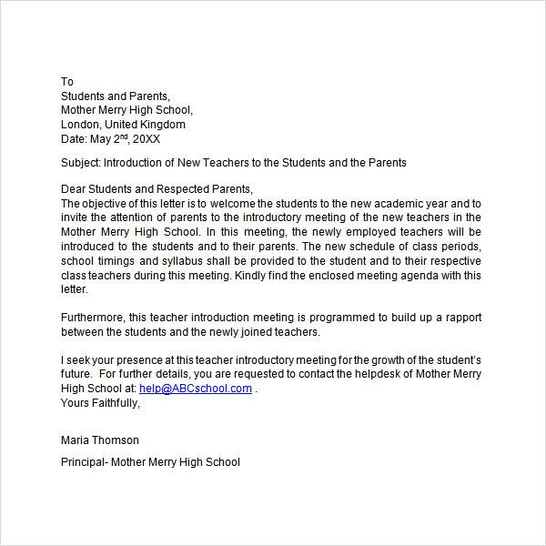 letter of introduction template education 34 sample introduction letters doc pdf 22468 | Letter of Introduction Teacher