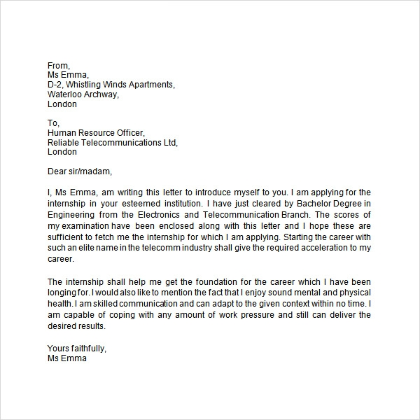 letter for job application in school