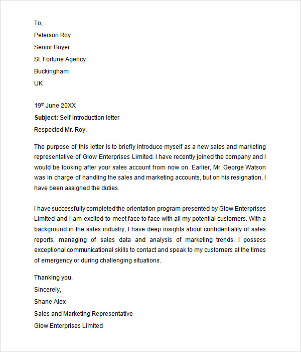Letter-of-Self-Introduction Sample Introduction Of Application Letter For Employment on