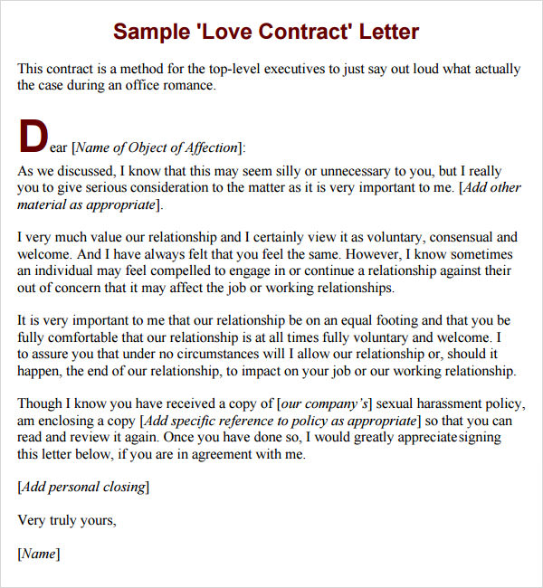 Relationship Contract Agreement Templates  VisualbrainsInfo