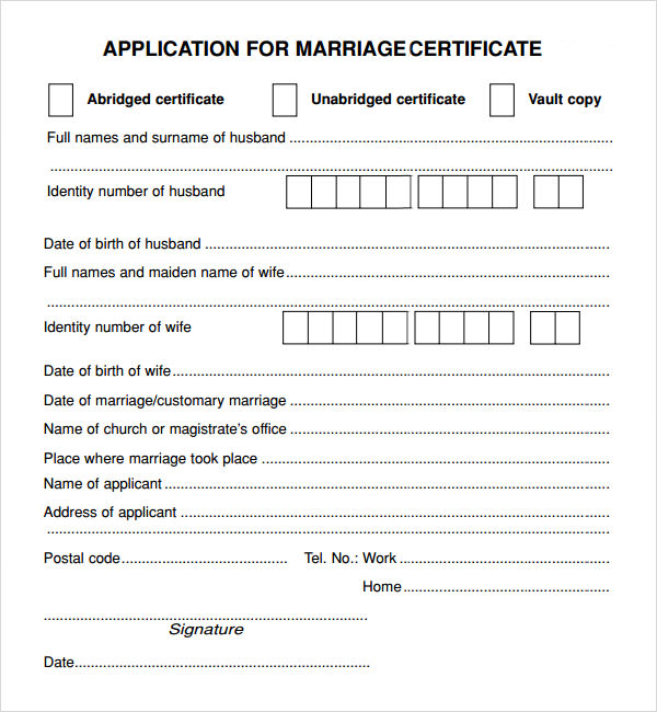 marriage contract form