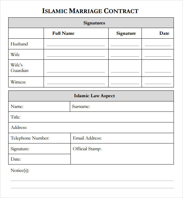marriage contract islam template