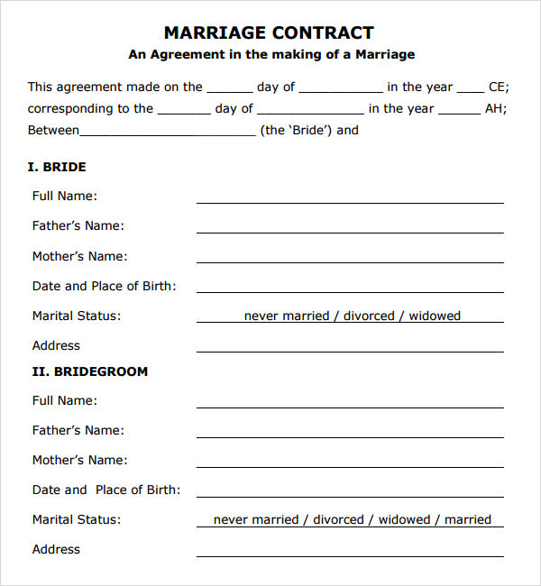 Marriage Contract Template   Download Free Documents In Pdf Word
