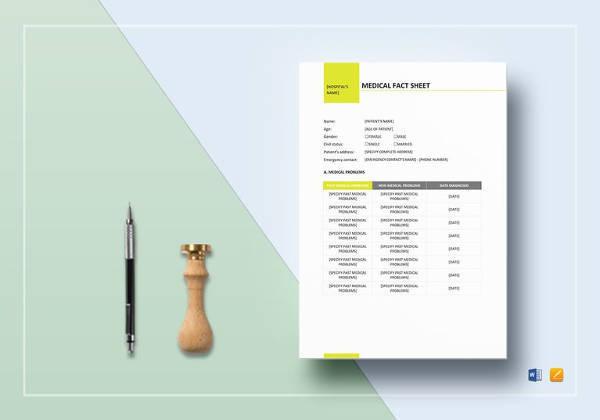 medical fact sheet template to edit