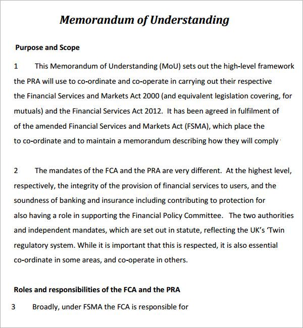 Memorandum Of Understanding 5 Free PDF Download