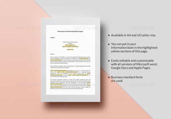memorandum of understanding template