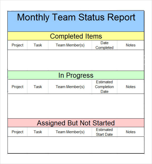 Monthly report format template accmission Image collections