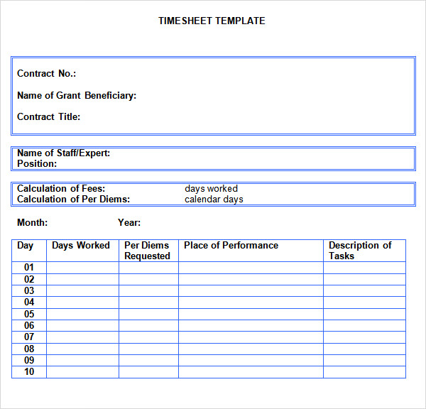 Time Sheet Template 7 Free Download For Pdf Doc Excel