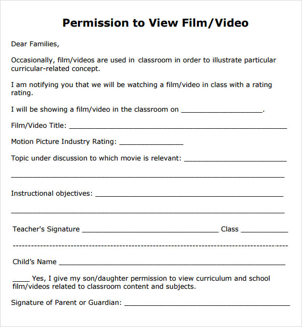 Permission Slip Template   7  Free PDF DOC Download Sample XENfBIfr