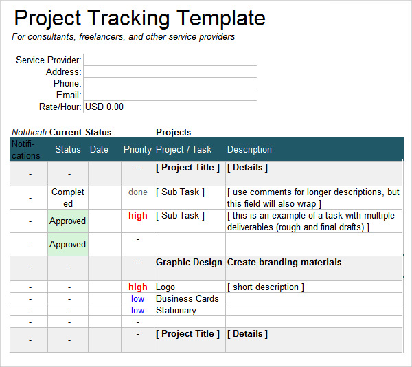 project tracking template 6 free download for pdf doc